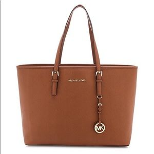 Michael Kors brown leather jet set purse